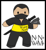 picture of a ninja and link to the writing dojo...